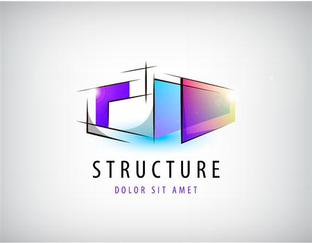 抽象的なカラフルな幾何学的構造、抽象的なロゴ、分離のアイコンをベクトルします。  イラスト・ベクター素材