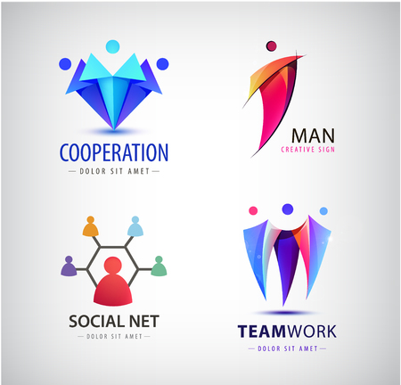 icon: Vector men group logo, human, family, teamwork, social net, leader icon. Community, people sign in modern style.