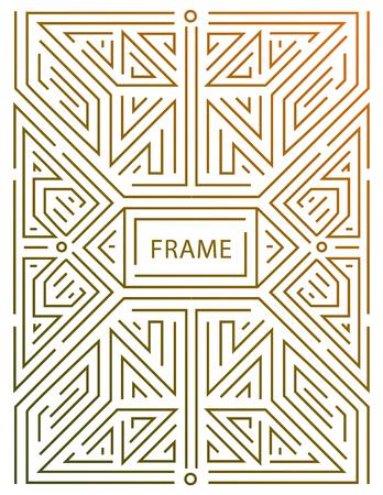ベクトル モノグラム デザイン要素でトレンディなヴィンテージとモノラル ライン スタイルのテキスト スペースの抽象的な黄金の幾何学的なフレー
