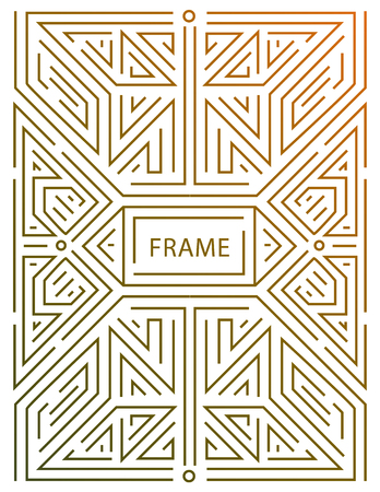 Vector monogram design elements in trendy vintage and mono line style with space for text - abstract golden geometric frame, packaging template for luxury products. Çizim