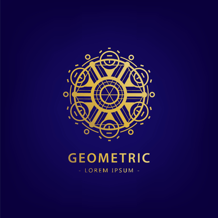 Vector abstract geometric symbol. Linear alchemy, occult, philosophical sign. For poster, flyer, logo design. Astrology, imagination, creativity, superstition, religion concept G