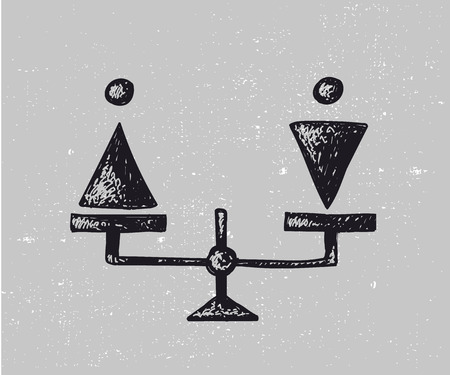 Vector gender equality illustration. Man and woman on scales Ilustrace