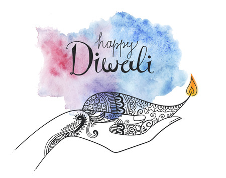 Vector diwali hand drawn illustration. Line art decorated