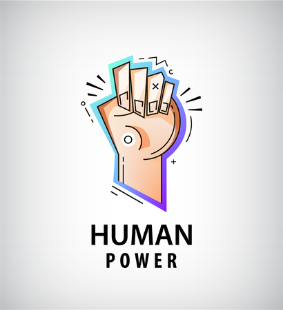 Vector hand, fist logo. Power, fight icon Modern style