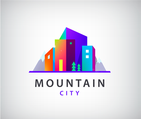 Vector city with mountains logo, modern buildings icon