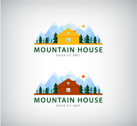 Vector set of mountain houses for holidays, logos, illustrations.