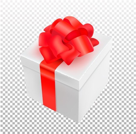 Vector realistic 3d present box with bow tie isolated on transparent background Illustration