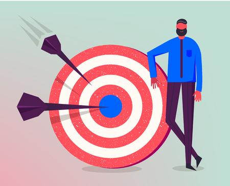 Illustration vectorielle d'affaires, caractère stylisé. Faire des objectifs, stratégie commerciale réussie, concept marketing. Vecteurs