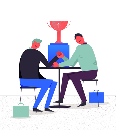 Business vector illustration, stylized characters. Competition between two businessmen, arm wrestling.