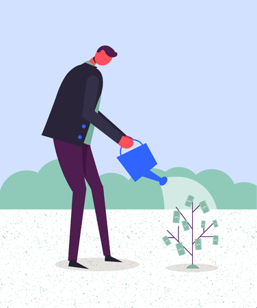 Business concept vector illustration. Stylized character watering money tree. Making money, growing finances.
