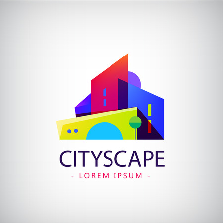 Vector colorful modern style city, town, real estate, buildings logo