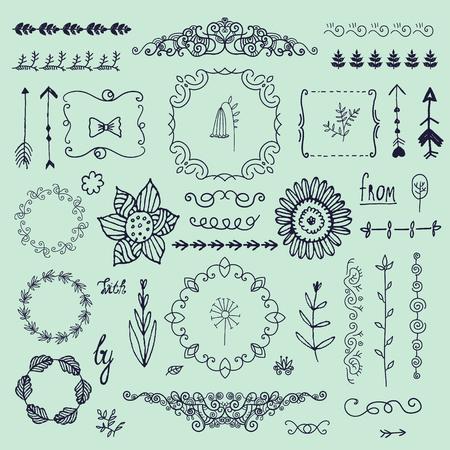 Vector hand drawn doodle romantic set. Linear illustration - flowers, wreaths, deviders, frames, leaves.
