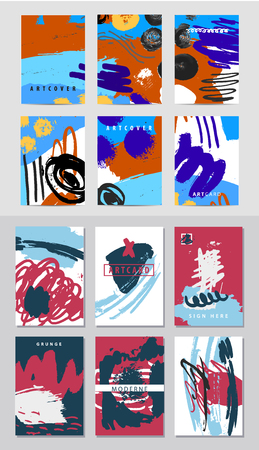 Vector set of art covers, ink hand drawn posters, artistic banners, cards.