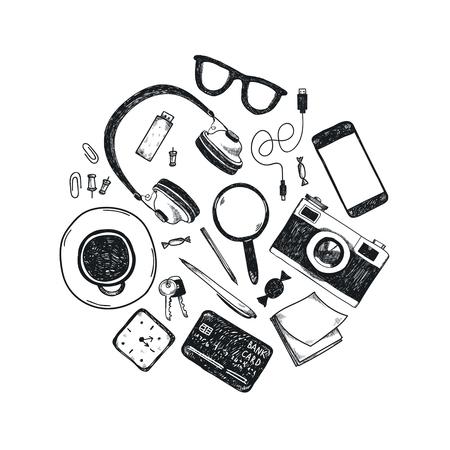 Ensemble de vecteur d'outils de bureau dessinés à la main en cercle. Freelance, outils pour faire des affaires en ligne, entrepreneur. Maquette, vue de dessus. Noir et blanc