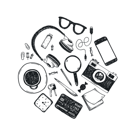 Vector set of hand drawn office tools in circle. Freelance, tools for making business online, entrepreneur. Mock up, top view. Black and white