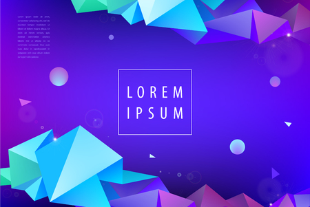 Vector colorful geometric background. Faceted modern 3d shapes, horizontal orientation flyer, brochure, web page Illustration