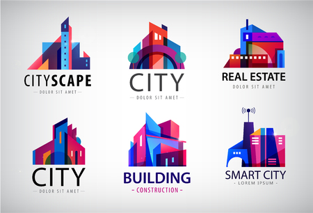 Vector set of modern city logos, business uilding signs, cityscape, skyscrapers