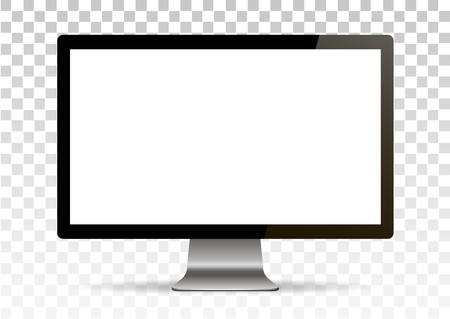 Vector mock up. Realistic computer monitor with empty screen standing. Isolated on transparent background.
