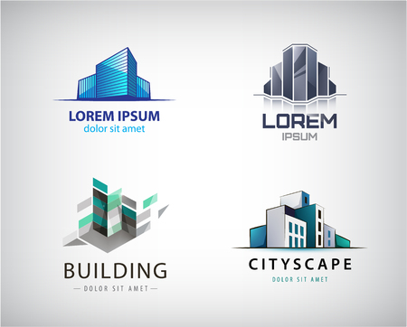 Vector set of colorful real estate logos, city and skyline icons, illustrations. Architect construction Logo