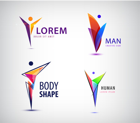 Vector set of human, leader logos. Geometric positive man sign