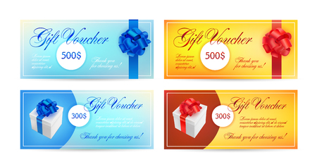 Set of gift vouchers with ribbons, a bow and gift boxes. Vector elegant template for gift card, coupon, certificate - blue, red and yellow colors. Isolated Vettoriali