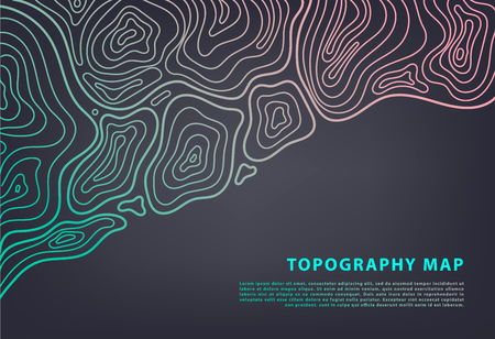 Vector abstract topography map banner. Topographic contour background. Topo grid.