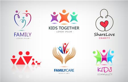 Set vettoriale di famiglia, bambini, supporto, beneficenza, loghi di gruppi di persone