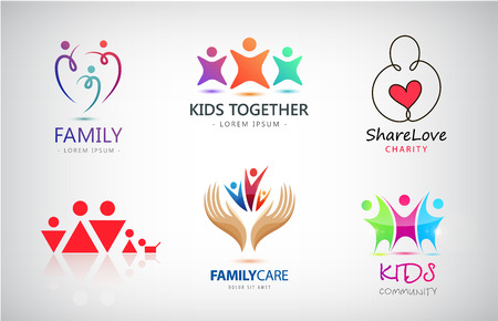 Vector set of family, kids, support, charity, people group logos Vettoriali