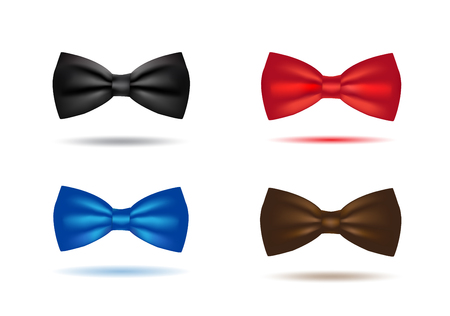 Vector silk black bowtie in polka dots. Isolated on white background. Vector Illustratie