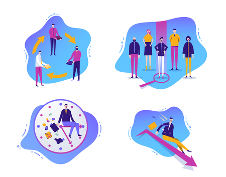 Vector set of business illustrations with characters. Sharing economy. Failed business sales. Human resourse, job hunting. Time management. Liquid, fluid background