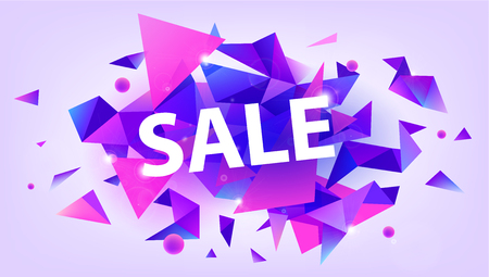 Vector shiny sale banner, promotion poster, discount. Facet 3d triangles illustration. Purple and pink
