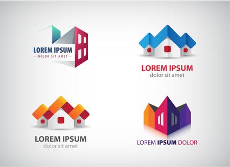 Ensemble d'images vectorielles de l'immobilier, des maisons, des logos de construction. Appartement à louer, origami