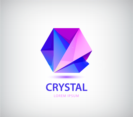 Vector abstract crystal origami logo, facet 3d purple shape, polygonal Illustration
