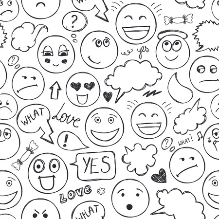 Vector faces seamless pattern. Emotions, doodle, freehand drawing background. Black and white Stock Vector - 114131188