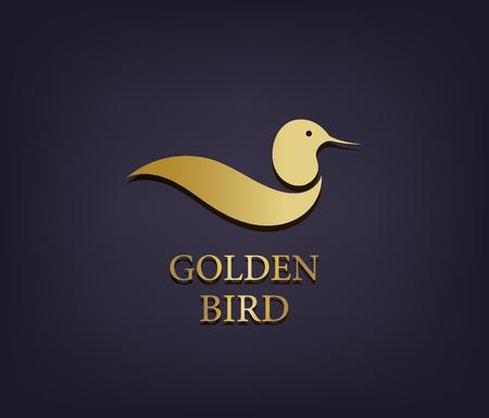 Vector golden bird logo, abstract luxury icon
