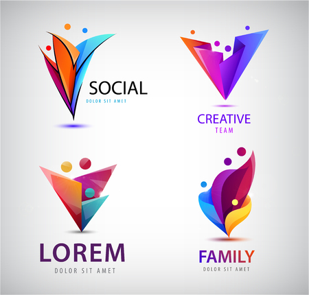 Vector set of human, people group logos. Family, business teamwork, friendship concept. 3d origami, multicolor men logo Illustration