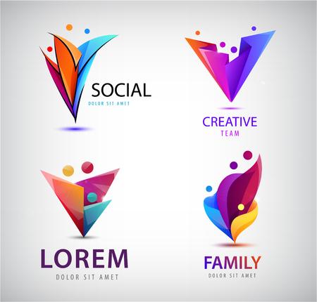 Vector conjunto de logotipos de grupos humanos, personas. Familia, trabajo en equipo empresarial, concepto de amistad. Origami 3d, logo multicolor de hombres