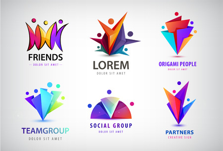 Vector set of human, people group logos. Family, business teamwork, friendship concept. 3d origami, multicolor men logo  イラスト・ベクター素材