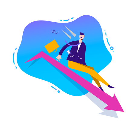 Vector business illustration, stylized character. Failed business sales concept. Man sliding down by the arrow, loosing position in business