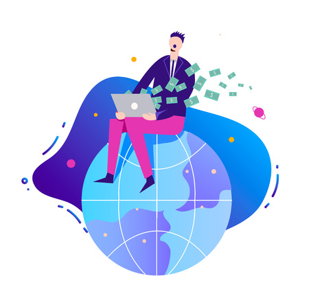 Vector business illustration, stylized character. businessman making money online, earning on network, internet. Man sitting on the globe with notebook.