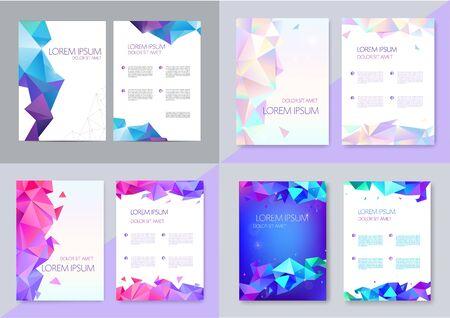 Vector set of brochure design templates, cover design, flyers. Abstract business flyer A4, geometric triangle facet style with 3d Ilustración de vector