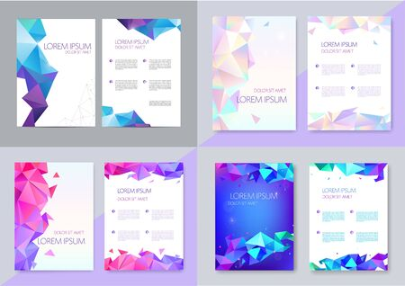 Vector set of brochure design templates, cover design, flyers. Abstract business flyer A4, geometric triangle facet style with 3d Vector Illustration