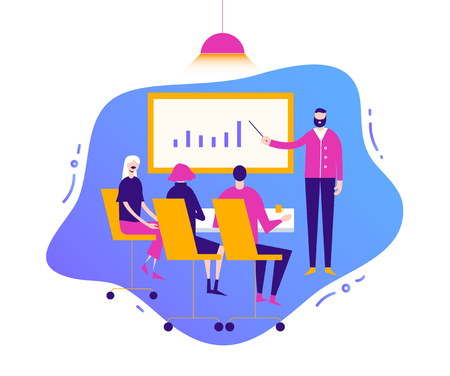 Vector business illustration, stylized characters. Meeting people, conference discussion corporate concept. Consulting for company performance, analysis concept. Statistics and business statement.  イラスト・ベクター素材
