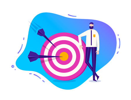 Vector business illustration, stylized character. Man standing near the target with arrows. Goal achievement illustration Illustration
