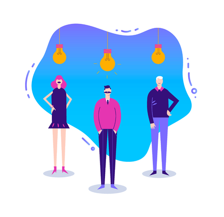 Vector business illustration, stylized character. Coworking, freelance, teamwork, communication, interaction, idea. Men and woman standing with lamp bulbs upside