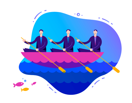 Vector business illustration, stylized characters. Successful teamwork concept, 3 businessmen rowing a boat.