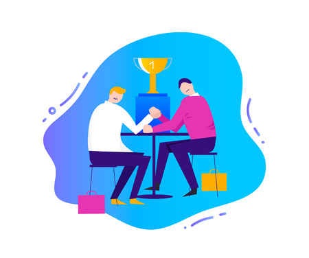 Vector business illustration, stylized characters. Business competition concept, 2 men figthing for the victory cup, arm wrestling Çizim