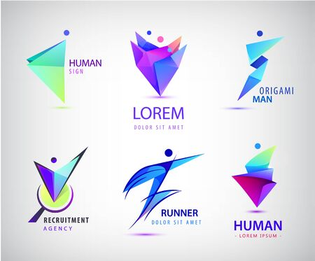 Vector set of human, man, people group  . Teamwork, family, leader 3d origami
