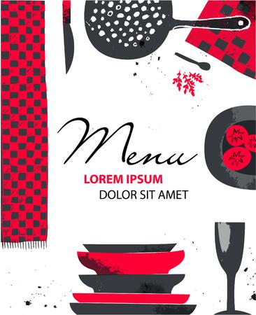Vector catering brochure flyer design. Artistic hand drawn kitchen, food
