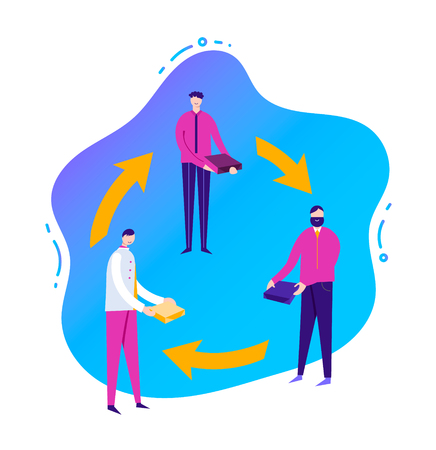 Vector business illustration, stylized characters. Sharing economy concept, banner. Illustration with liquid background. Men share resources, business colaboration